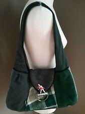 Baabaazuzu Handbag Shoulder Bag Wool Vintage Patchwork Hobo Green Gray Ice Skate