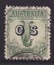 Australia 1932 1/- Green Large Lyrebird, ovpt. OS, USED SG O136  (KI186)