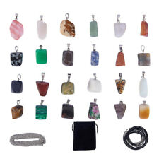 24pcs Chakra Gemstone Beads Charms Crystal Pendants for Necklace Jewelry Making