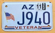 "ARIZONA "" VETERAN - U.S. FLAG - MOTORCYCLE MC Specialty License Plate"