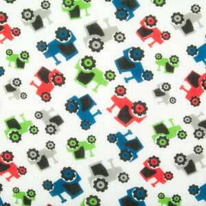 Polycotton Kids Fabric RED GREEN BLUE TRACTOR Childrens Nursery Craft Material