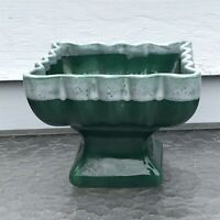 Vintage pottery planter green pedestal drip square scalloped