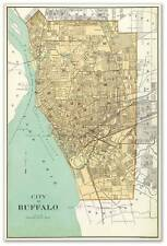 City of BUFFALO New York Downtown MAP circa 1895 - Vintage Street Repro Poster