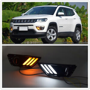 DRL For Jeep Compass 2017-18 LED Daytime Running Light Fog Driving Lamp Turn MP
