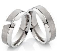 Partnerringe Eheringe Verlobungsringe aus Titan mit Zirkonia + Ringgravur TD102
