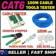 100m Blue Cat 6 Cat6 Network Ethernet LAN Cable Kit Crimper Punch Tester 20Plugs
