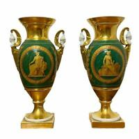 Antique Pair of 19th Century French Gold Tone Green Porcelain Ormolu Sevres