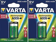 2 X Batterie 9v E-Bloc Varta Rechargeable Accu 200 mAh NiMH 56722 Blister