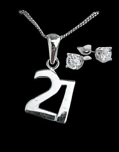 White gold finish special 21st birthday pendant necklace And Earrings Set Gift
