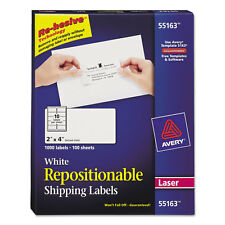 Avery Repositionable Shipping Labels Inkjet/Laser 2 x 4 White 1000/Box 55163