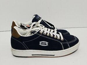 VTG 90s Skechers Navy Blue Suede Platform Sneakers Skate Shoes Mens SZ 9.5 NWT