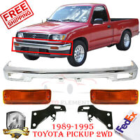 FOR Toyota 1989-1995 Pickup 2Wd Front Bumper Chrome Face Bar 1 Piece Type