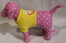 "Victoria Secret Dog Plush Pink White Polka Dot Yellow Shirt Peace Heart 8"" VS"