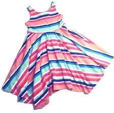 Gymboree Girls Handkerchief Hem Sun Dress 6 Sleeveless Keyhole Back Striped Knit