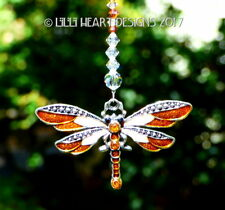 m/w Swarovski Copper Silver Dragonfly Car Charm Suncatcher Lilli Heart Designs