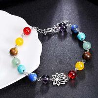 Colorful 7 Chakra Beads Charms Bracelet Bangle Pendulum Chain Women Jewelry LE