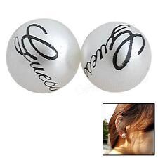 1 Pair Woman Earrings Classic Guess Printed White Faux Pearl Stud Earrings WLSG