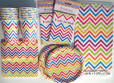 RAINBOW CHEVRON Birthday Party Supply Set Pack Kit for 16 w/ Invitations