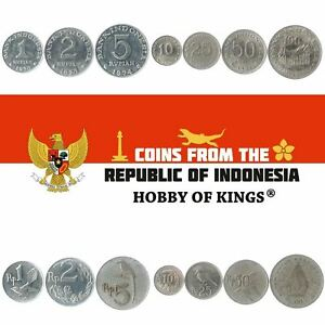MONEY SET OF 7 COINS FROM INDONESIA. 1, 2, 5, 10, 25, 50, 100 RUPIAH. 1970-1973