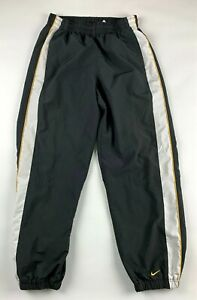 NIKE Track Pants Mens L Basketball Gray Stripes Mesh Lined Cuffed Ankle Pockets