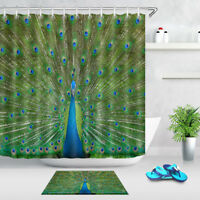 """Peacock Displaying Feathers Shower Curtain Liner Waterproof Fabric Hooks 72X72"""""""