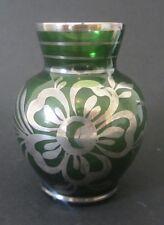 VASE Verre translucide vert - peint ARGENT  - glass vase painted silver flowers