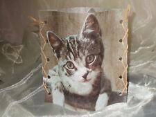 Deko Windlicht Katze  Tischlicht Unikat Geschenkidee