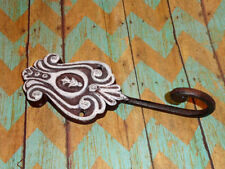 Cast Iron White Painted Wall Coat Hook Hanger Shabby French Country Rustic Décor