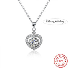 925 Solid Sterling Silver Cubic Zirconia Love Heart Pendant Necklace Jewellery