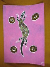AUS-14 Lizard pink Australian Native Aboriginal PAINTING dot Artwork T Morgan