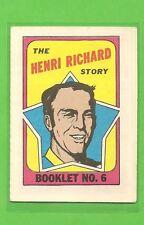 1971 - 72 Topps Hockey HENRI RICHARD Booklet No. 6