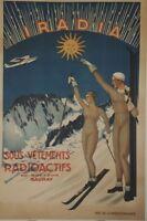 """""""IRADIA Sous-vêtements radioactifs""""Affiche originale entoilée années 30 84x124cm"""