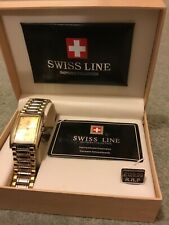 SWISS LINE WRIST WATCH WITH STRAP - NEW & UNUSED IN ORIGINAL BOX WITH PAPER WORK