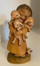 Anri Ferrandiz Shepherd Boy & Lambs 3� Hand Carved Wood Figurine, Italy, 1980's
