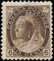 Canada #80 mint F-VF OG light DG 1898 Queen Victoria 6c brown Numeral CV$200.00