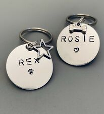 Pet Dog Cat Id Disc Tag Personalised Handstamped - Size Medium