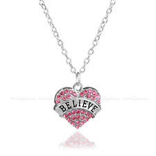 Pink Crystal Heart Necklace - Believe