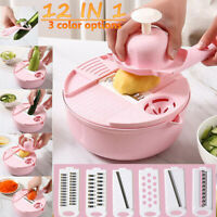 12 IN 1 Mandoline Slicer Vegetable Cutter Potato Onion Carrot Grater Chopper