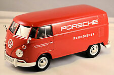 VW Volkswagen T1 Tipo 2 furgoneta PORSCHE SERVICIO DE CARRERA 1959-67 Rojo 1:24