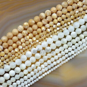 """Natural White & Yellow Mother Of Pearl MOP Shell Round Beads 16"""" 3mm 4mm 5mm 6mm"""