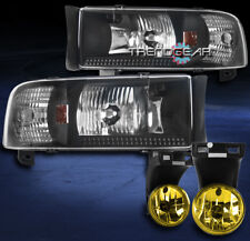 1994-2001 DODGE RAM PICKUP BLACK CRYSTAL HEADLIGHTS W/YELLOW DRIVING FOG LIGHTS