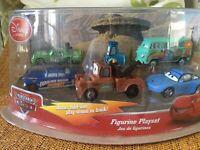 Cars Disney Store Figurine Playset Bonus fold-out play scene in back! Set of 6