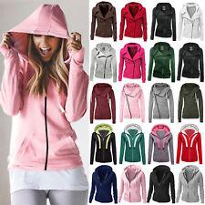 Ladies Hoody Jacket Women Plain Zip Up Hoodie Fleeces Sweatshirt Coat Outwear