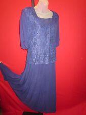*Victorian Lace* Starina Navy Blue Floral Layered Dress Sz L wedding