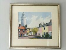 Original Watercolour Landscape Lighthouse / Sole Bay Inn Suffolk by Mary Bishop
