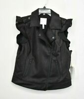 Leith Womens Black Vegan Leather Zip Up Shouldar Lapel Pleat Collar Moto Vest L