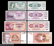 BANCONOTA Jugoslavia SET 4PZ 1960's 70's 80's 90's tutte MINT UNC 4 PZ