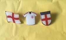 England Football Shirt  Enamel Shield Lapel Badges Pins St George Flag Set Of 3