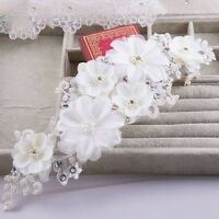 White Handmade Bridal Piece Flower Lace Pearl Wedding Crystal Hijab Wrap Tiara