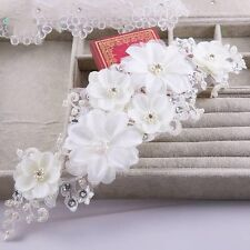 White Handmade Bridal Piece Pearl Lace Flower Crystal Tiara Hijab Wrap Wedding